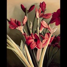 """Amarylus"" Oil/Acrylic by Julie Carlson of Bonita Springs"