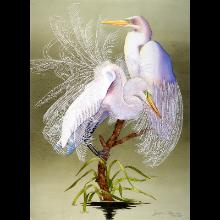 """Dancing Egrets"" a watercolor by JoAnn Ostrowski of Fort Myers"