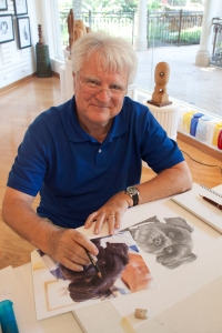Artist Peter Sargent works on a drawing in his studio at the Promenade in Bonita Springs Florida.